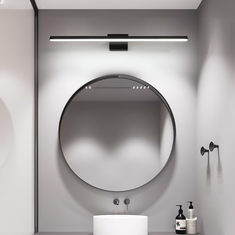 L400/600/800mm moderno luz led para espejo de baño espejo de aseo para casa Baño iluminación del tocador blanco o negro terminado