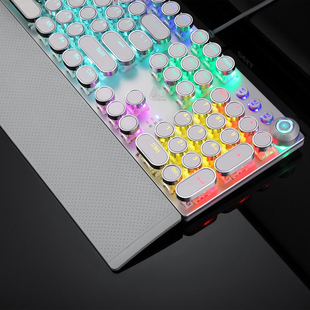 Game mechanical keyboard white punk keycap 104 KEYS computer keyboard laptop keyboard Russian English Hebrew Spanish Arabic enlarge