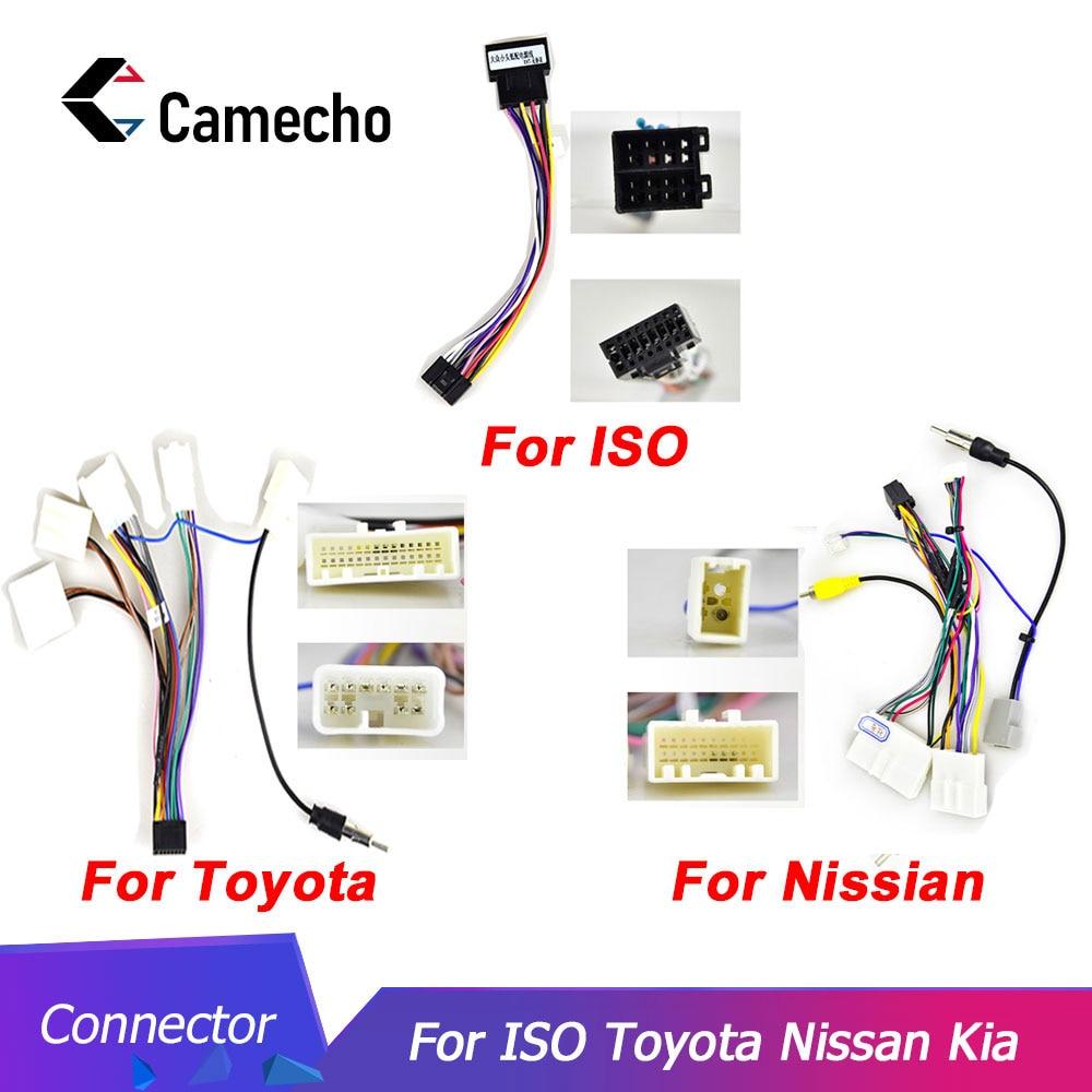 Camecho 2din auto Android Radio Kabel Auto Zubehör Draht Adapter Stecker für Volkswagen ISO Hyundai Kia Honda Toyota Nissan