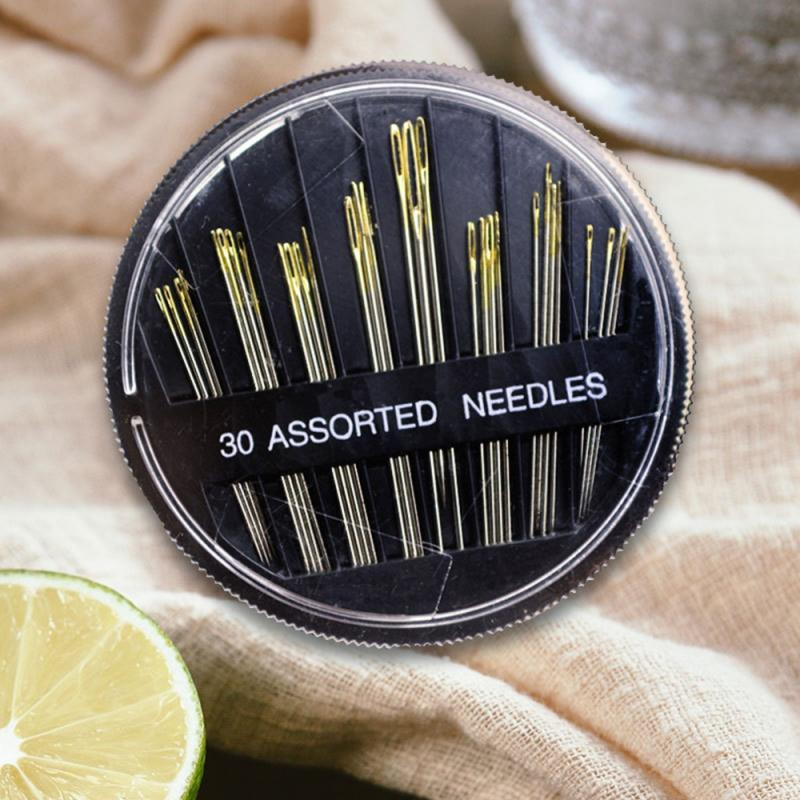 Popular 30PCS Assorted Hand Sewing Needles Embroidery Mending Craft Quilt Sew Case Suitable For Leat