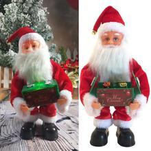 Christmas Dolls Music Box Electric Musical Toys Santa Claus Doll Kids Gift LED Light Electric Dancin