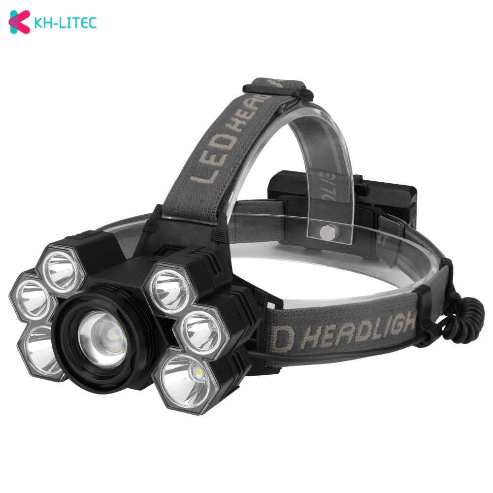 3 * T6 + 4 * XPE LED ajustable faro 5 modos linterna para cabeza con carga por USB linterna para cabeza linterna para acampar al aire libre pesca