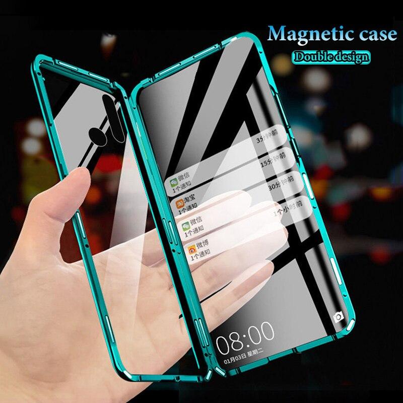 Proteção total Caso Magnética Para Samsung A50 A51 A71 A30 A10 A8 A9 Sensação Suave Para A10 A11 A31 A70 A80 Plus A7 2018 Vidro Duplo