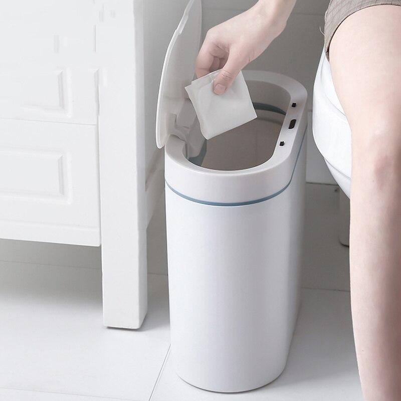 صندوق مهملات بمستشر ذكي يمكن الإلكترونية التلقائي المنزلية سلة المهملات بسيطة الحمام المطبخ المرحاض مقاوم للماء دلاء القمامة الذكية