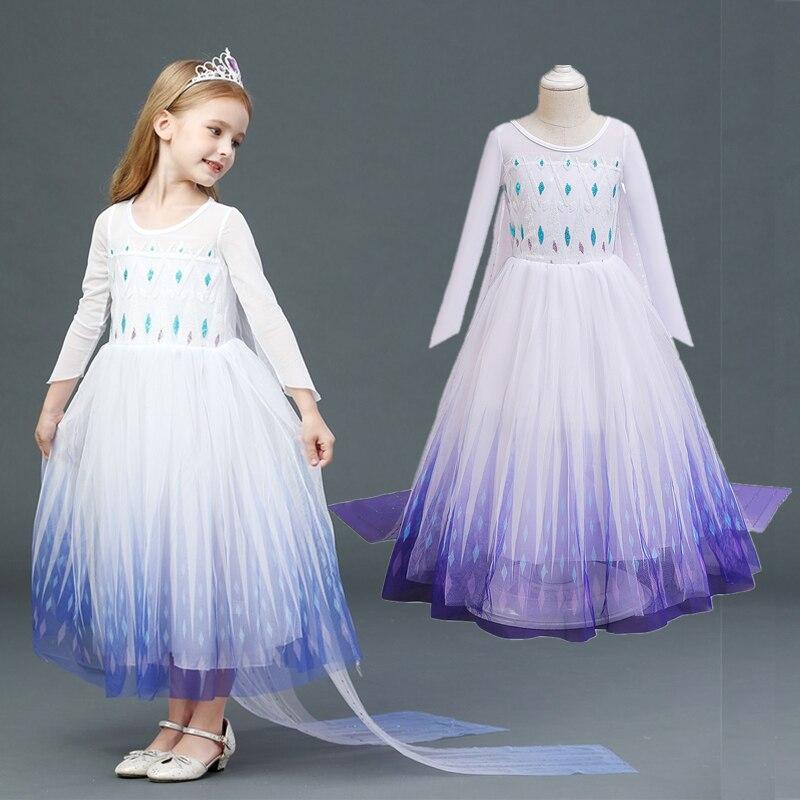Vestido de princesa Elsa y Anna para niña, traje blanco de reina...