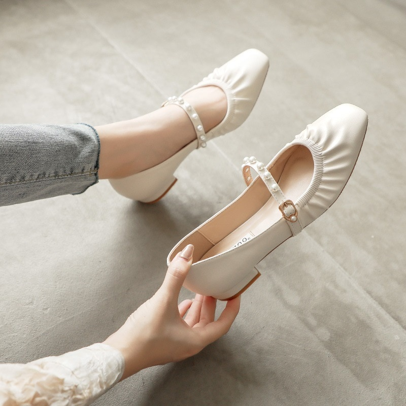 2021 spring and summer new apartment loafers flat Mary Jane women's shoes square toe peas shoes all-match pearl pumps