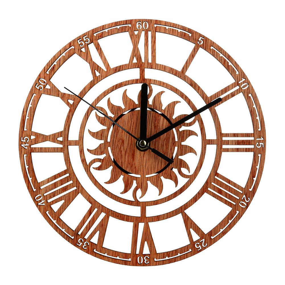 GloryStar Rustic Creative Wood Roman Numerals Wall Clock Silent Non-Ticking Sun Shape Hollow Wall Clock for Home Decoration