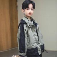 2021 new spring and autumn fashion boys children coat handsome jackets windbreaker spring hooded jacket long sleeve zipper coat