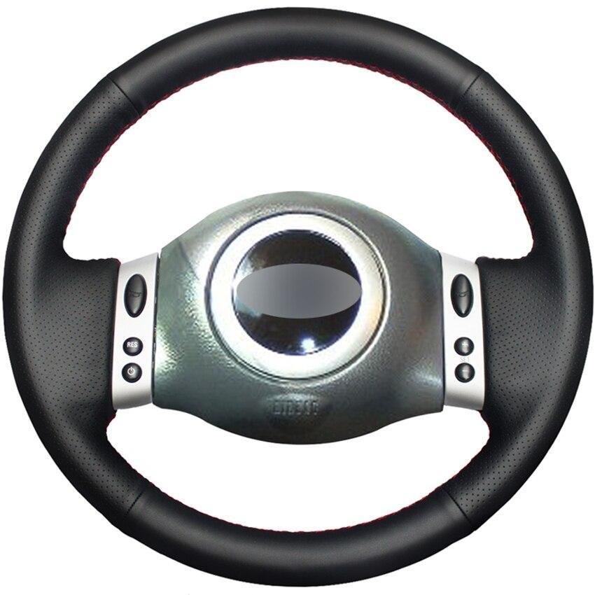 Funda para volante de coche cosida a mano de cuero sintético PU negro para Mini Coupe 2001-2006