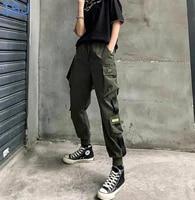 fashion streetwear cargo pants women black ankle length elastic waist joggers female loose trousers casual plus size harem pan