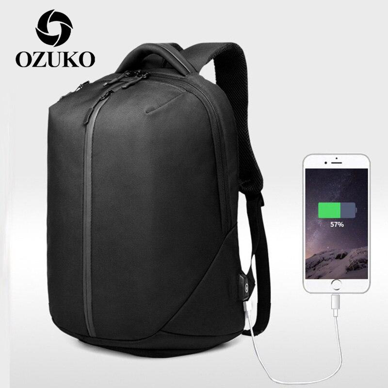 OZUKO-حقيبة ظهر للكمبيوتر المحمول مقاس 15.6 بوصة للرجال ، حقيبة ظهر فاخرة مضادة للسرقة مع شحن USB ، حقيبة سفر مقاومة للماء للرجال