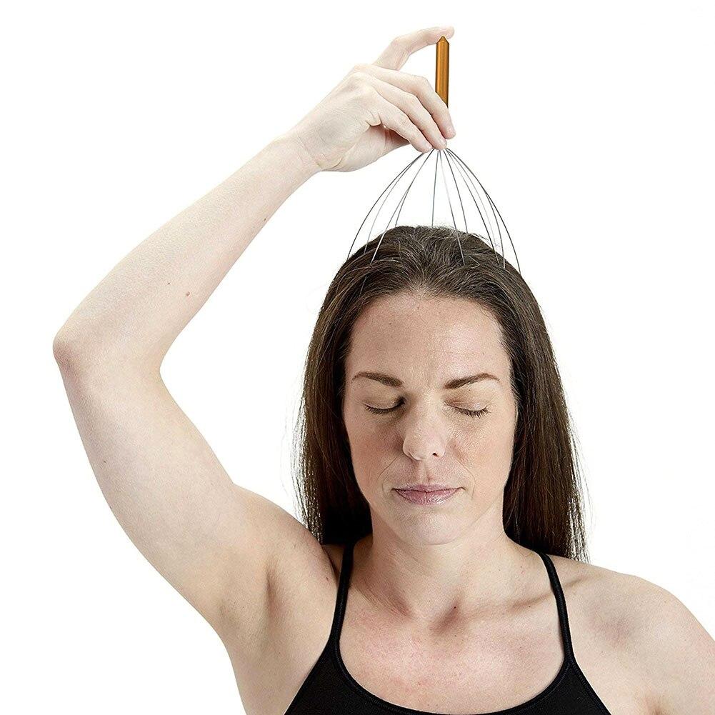 Head Massager Stress Relief Octopus Massagers Head Scratcher Scalp Massager Relaxant Tete for Home SPA Relief Relaxation Gold