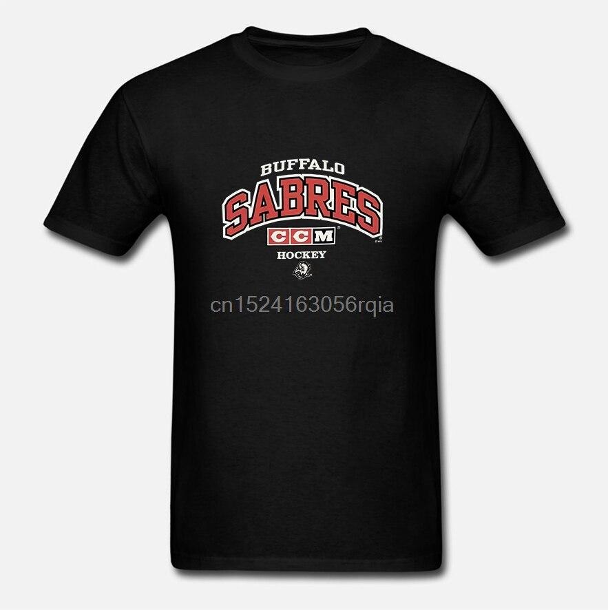 Camiseta Vtg Ccm Sabres Harajuku para hombres, ropa de calle para hombres, camiseta de Hockey color Gris Carbón, S, camiseta Sz grande B1