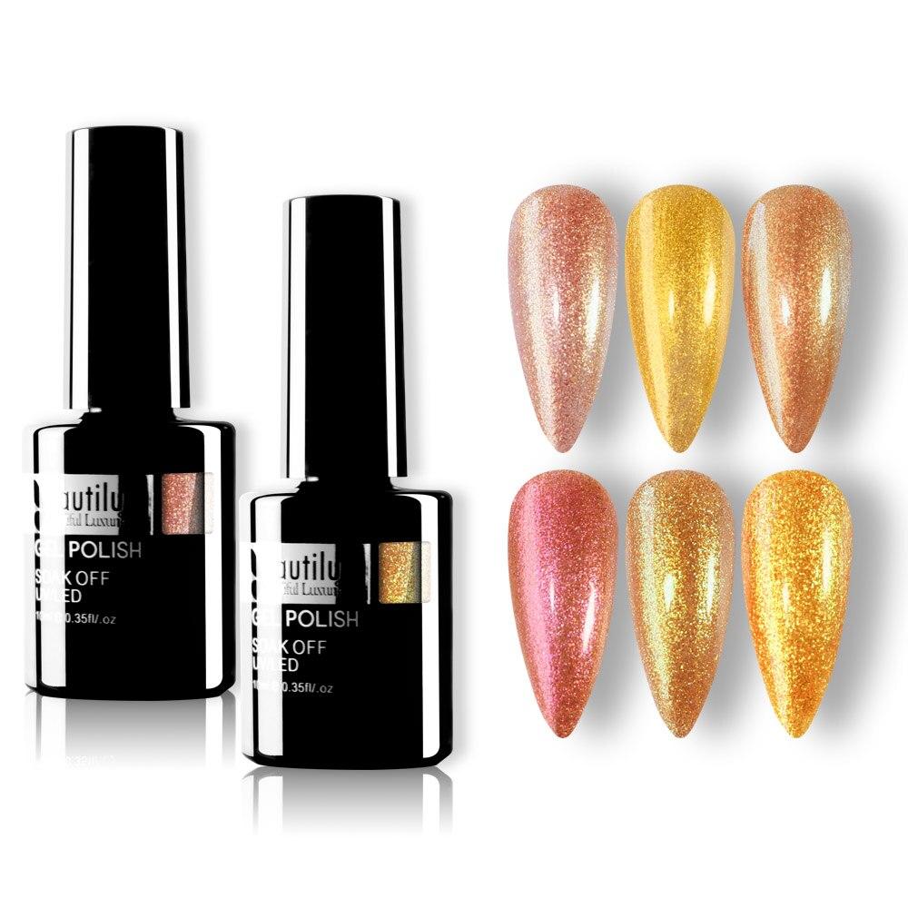 Beautilux-Lote de esmalte de uñas, Gel para uñas semipermanente, holográfico, brillante y brillante, en platino, 10ml