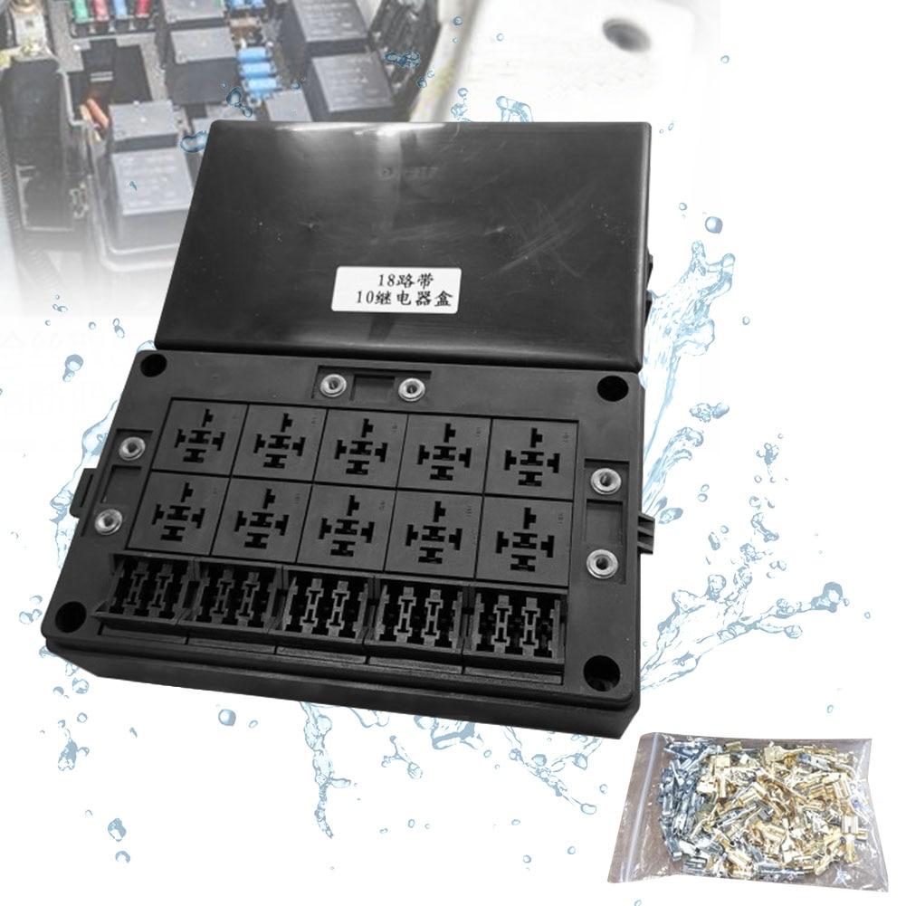 Soporte de relé de 18 vías, reemplazo Universal duradero, caja de fusibles antipolvo estándar, fácil instalación, Protector de circuito de coche a prueba de agua
