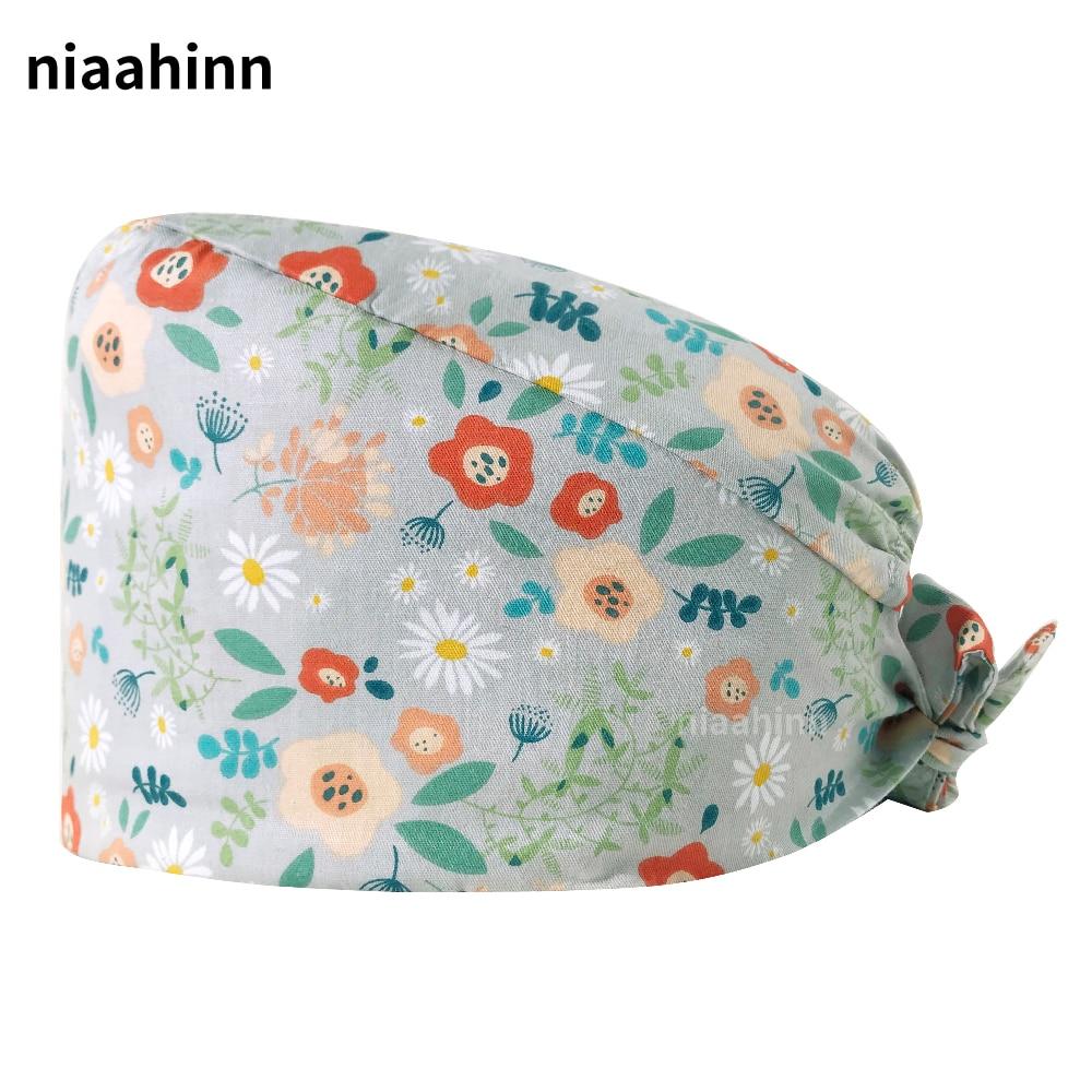 Floral Printing Hats Nurse Accessories Unisex Cotton Adjustable Scrubs Women Caps Hospital Nursing Cap Printed Pet Grooming Hats