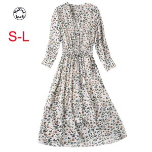 Silk dress 2021 new summer mulberry silk crepe de Chine retro floral little fresh Silk dress S to L
