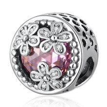 S925 bijoux à bricoler soi-même éblouissante marguerite fleur prairie breloque ajustement dame Bracelet rose Crytasl