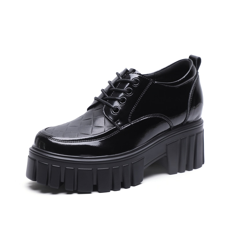 AIYUQI Women Shoes Thick-soled 2021 New Spring Genuine Leather Shoes Ladies Lace-up Body Increase Wh