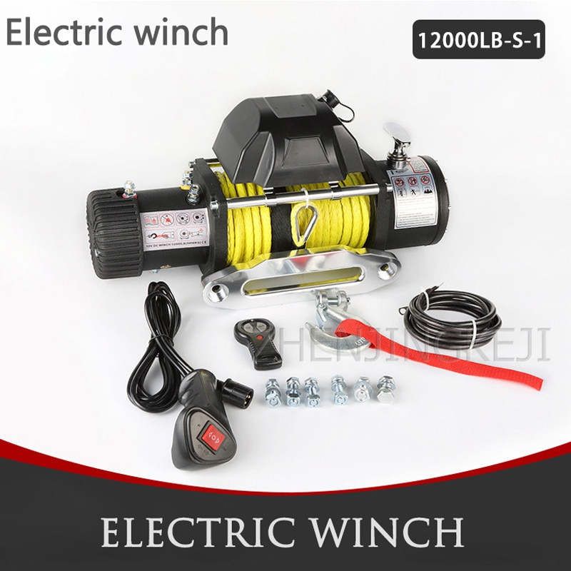 Electric Winch 13000 LB 12V/24V Small Crane Off-road Vehicle Winch Crane Mud Motor Anchorage Rescue Beach Traction Outdoor Tools