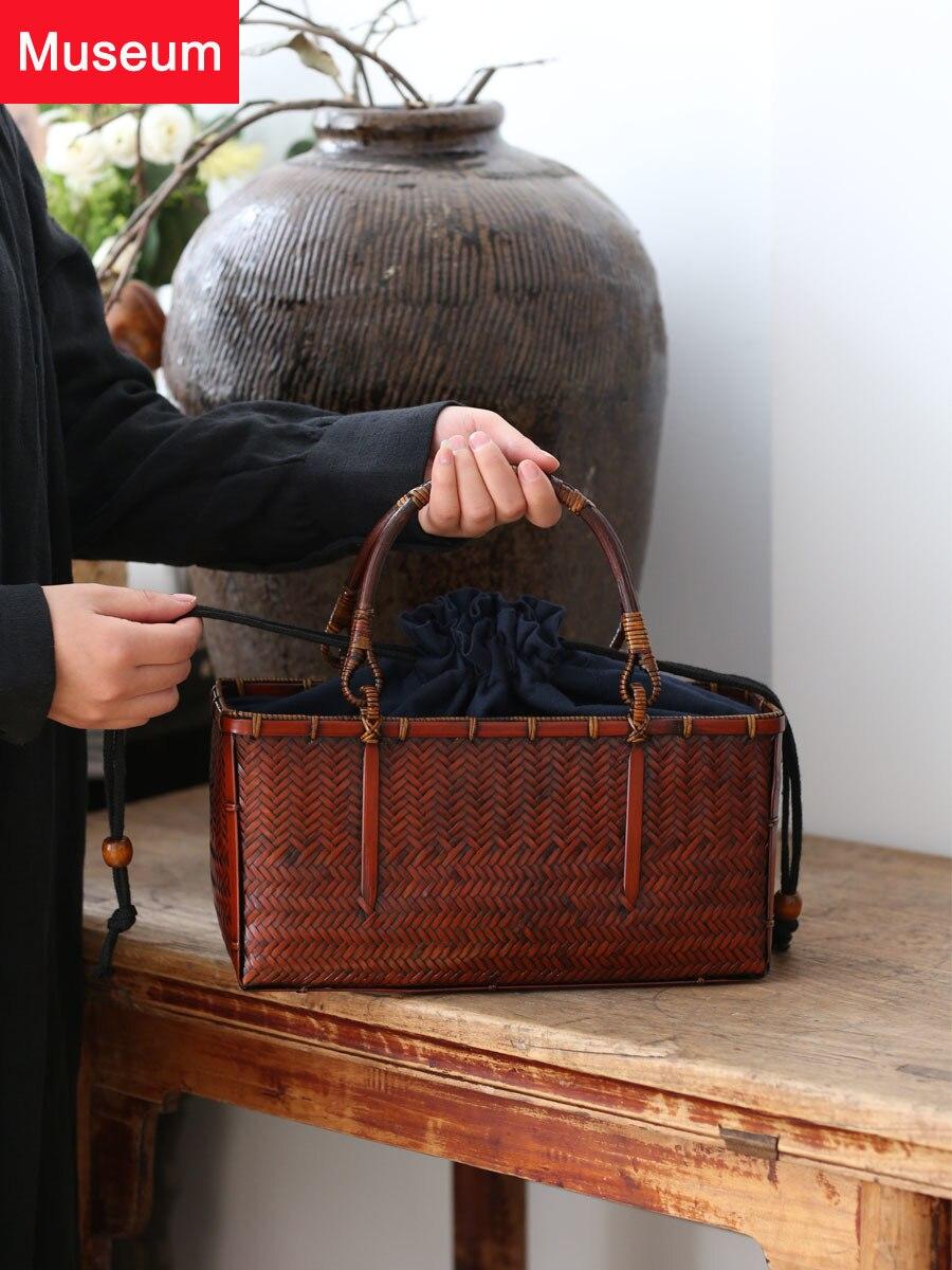 Bolso de mano con paquete tejido de bambú, para mujer, paquete de bambú, para ceremonia del té, bolsa de mano, juego de té portátil Zen, se acepta paquete