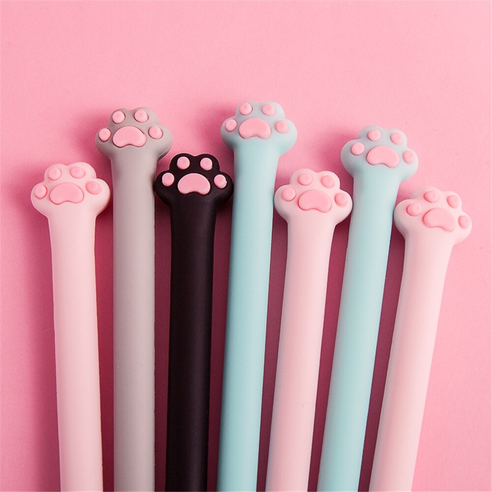 cute cat rabbit gel pens set kawaii stationery gel ink pens for kids gifts writing pen stationery caneta escolar school supplies 1pc Cute Cat Paw Design Gel Pen Kawaii Stationery Signature Pens Kids Gifts 0.5mm Black Ink Needle School Writing Instrument