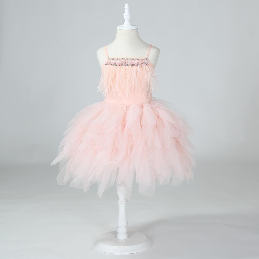 AliExpress - Party Dress for Girl Feather Sleeveless Beading Evening Dress Elelgant Children Bithday Tutu Dress Baby Girls Kids Vestidos 2021