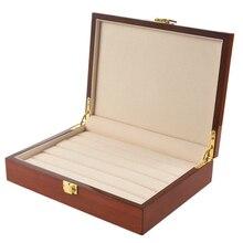 Vintage en bois vitrine boîte affichage bijoux affichage pour anneaux boucles doreilles boutons de manchette
