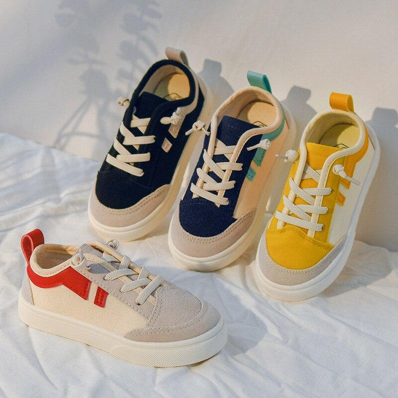 Crianças sapatos casuais lona de couro retalhos moda listra meninos tênis baixo topo do bebê crianças sapatos lona meninas sapatilha d05101
