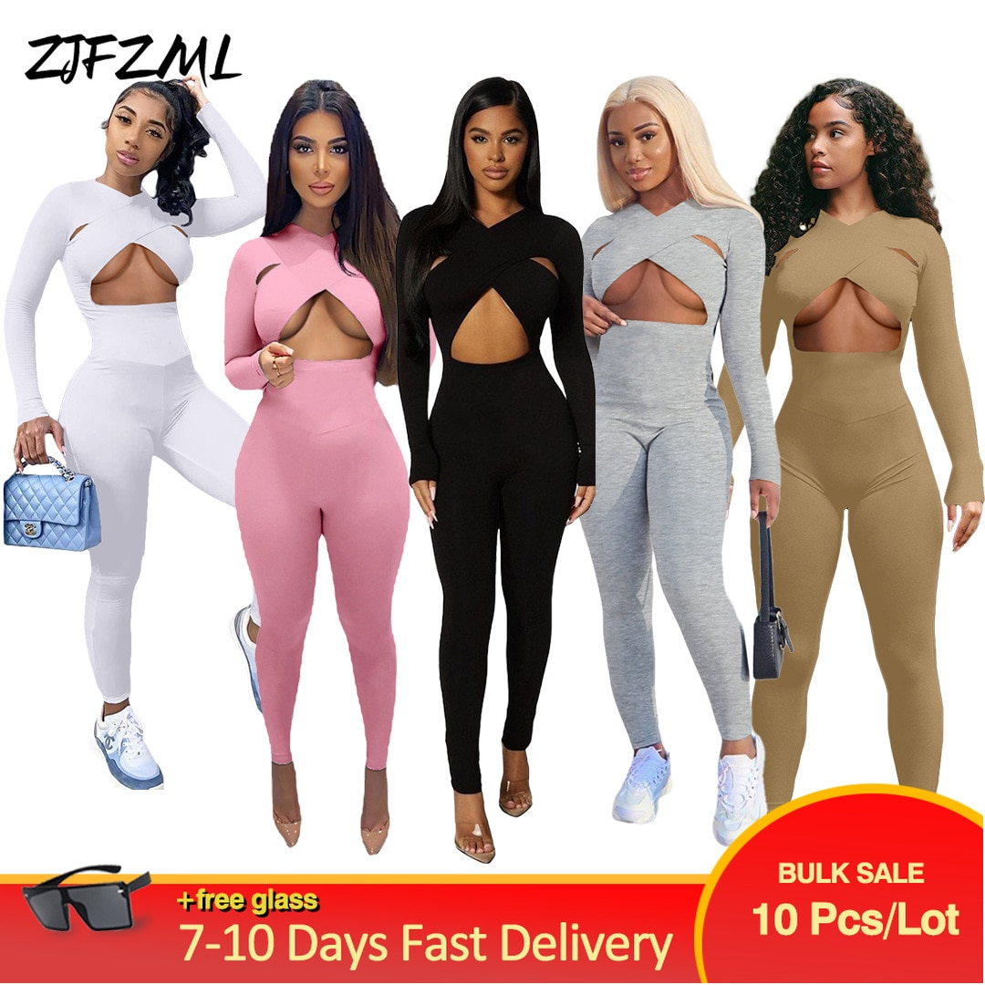 Wholesale Bulk Items Lots Women Jumpsuit Sexy Color Cut Out Sportswear Skinny Overall Active Wear Designer Workout Bodysuits