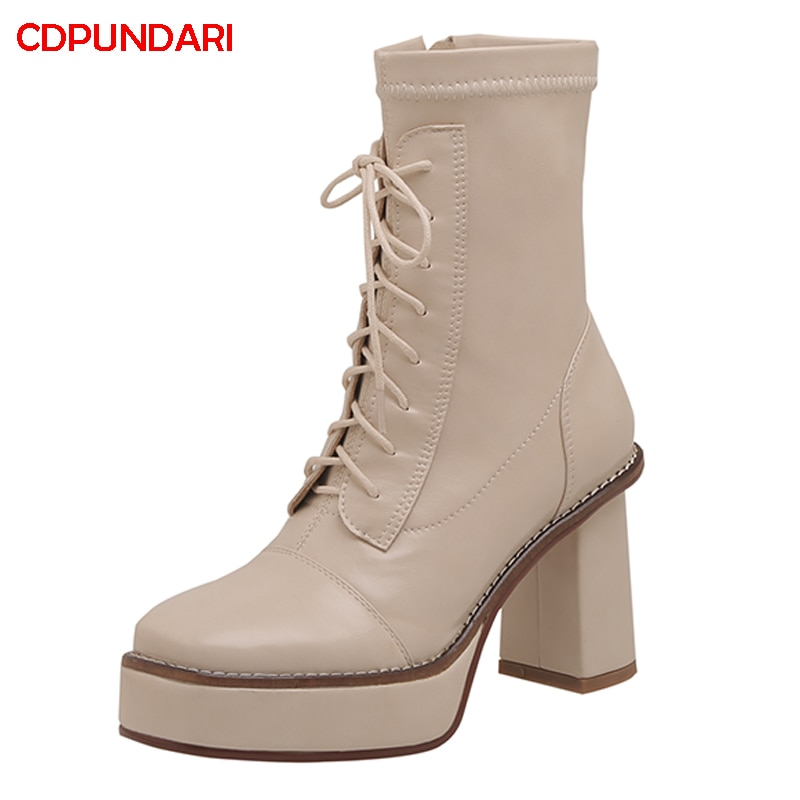 NEW Genuine Leather Platform Ankle Boots For Women Autumn Winter High Heels Boots Shoes Bottes Plateforme Femme Botines Mujer