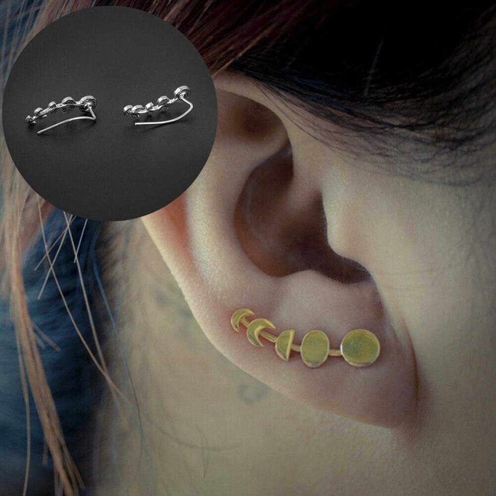 1 par de pendientes de plata/oro escalador de La Oreja fases de la luna puños de las orejas de las mujeres pendientes de barrido