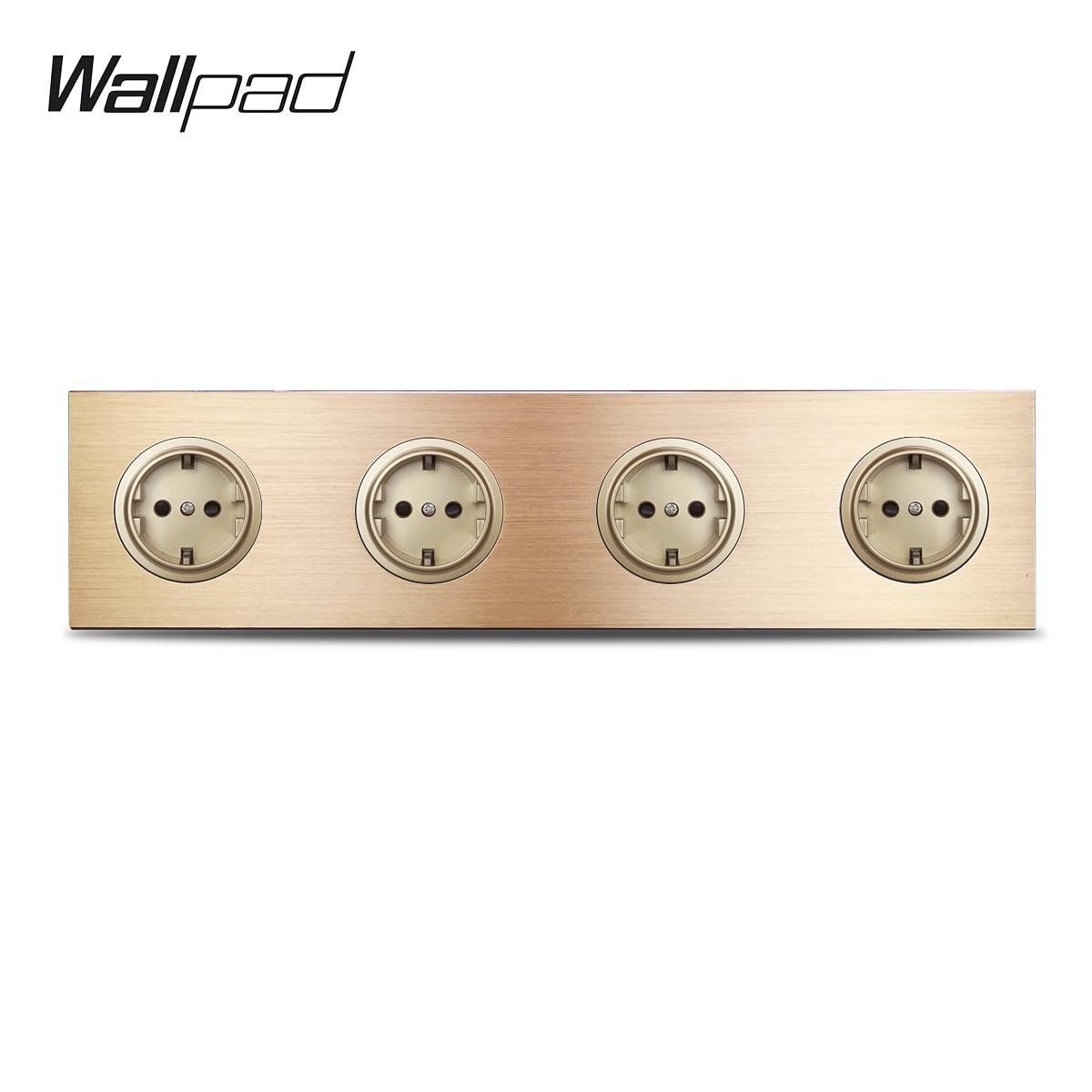 Wallpad L6 الذهب الرباعي 4 طريقة الألمانية Schuko الاتحاد الأوروبي الطاقة الكهربائية مقبس الحائط المقبس الذهب نحى معدن الألمنيوم لوحة ، 344*86 مللي متر