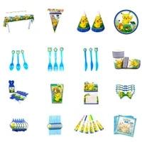 takara tomy 16 pcs pokemon theme birthday party pokemones disposable tableware supplies set plate cutlery children gift