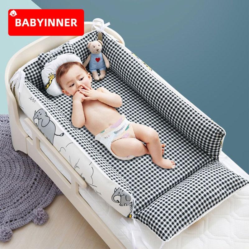 Babyinner Babynest Portable Newborn Crib Removable Infant Bed Nest Cotton 4 Pcs/Set Toddler Cradle Bassinet Room Decorate