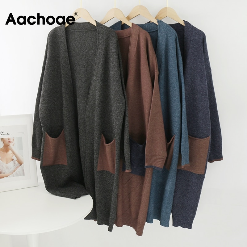 Aachoae Beiläufige Lose Patchwork Lange Strickjacke Frauen V Neck Vintage Taschen Pullover Batwing Langarm Gestrickte Oberbekleidung Mantel