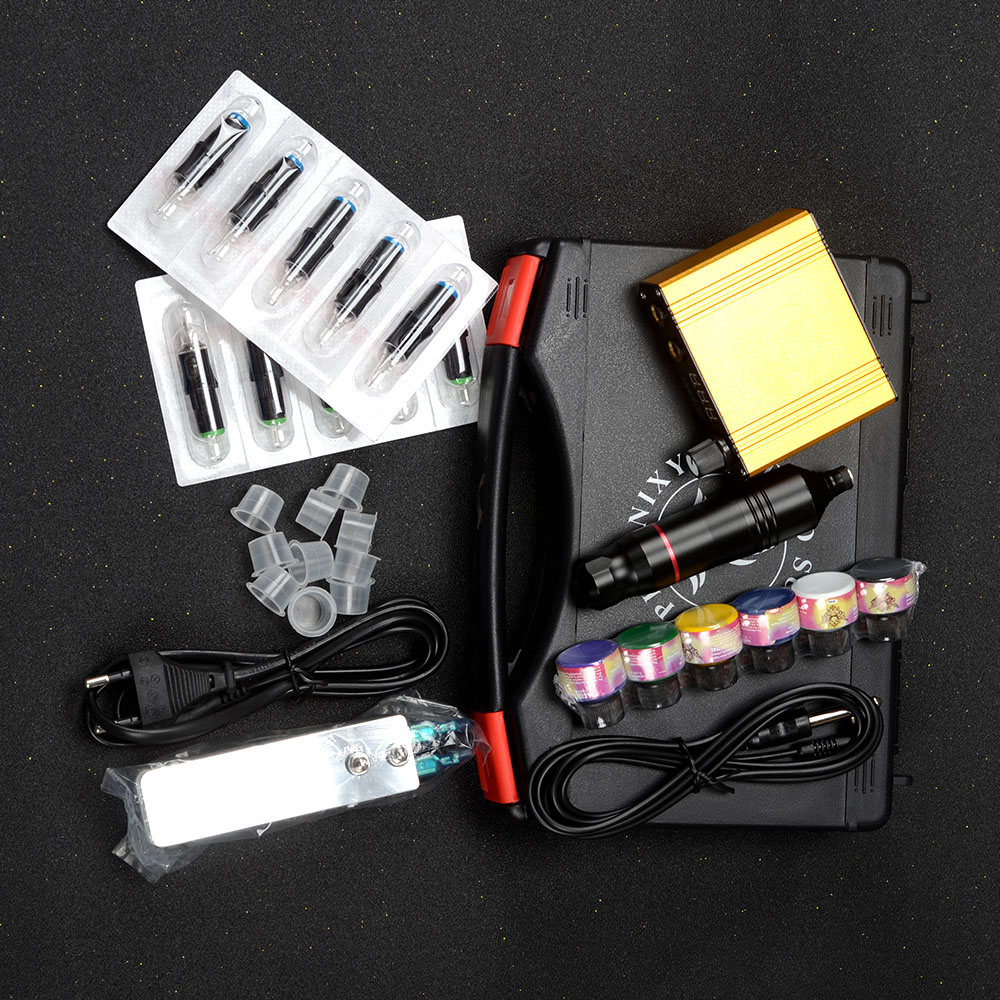 Conjunto de máquina de tatuagem profissional, kit caneta rotativa para tatuagem, fonte de alimentação, arte corporal, ferramentas
