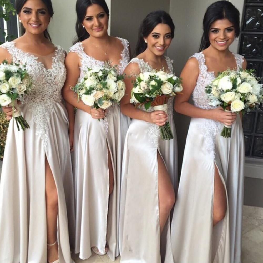 A-Line Deep V-Neck Bridesmaid Dresses Spandex Side Slit Lace Appliques 2021 Wedding Party Dress Robe De Soirée De Mariage недорого