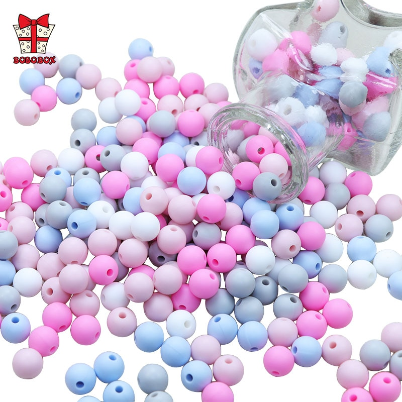 BOBO.BOX 50Pcs Round Silicone Beads 9mm Perle Silicone Teething Beads For Jewelry Making Baby Produc