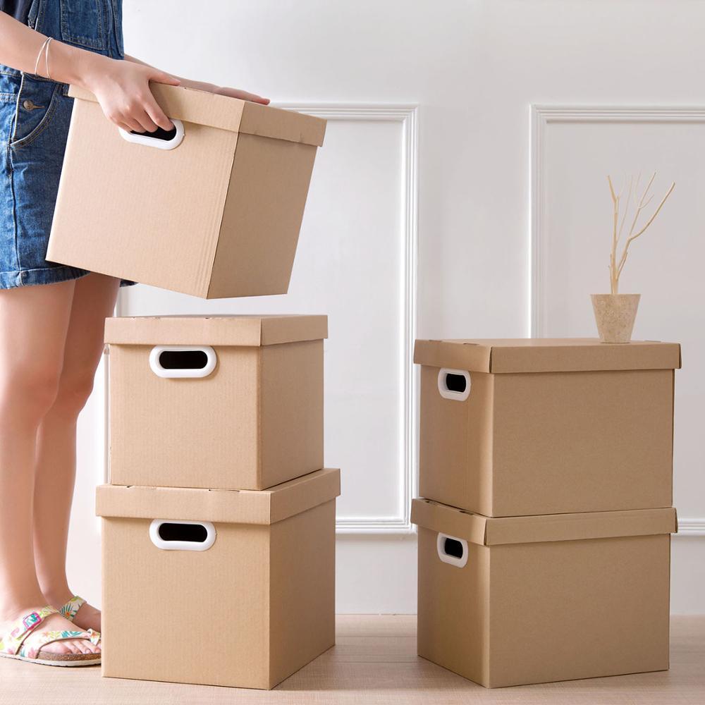 21/29L contenedores para almacenaje plegables de papel caja de archivo cubierta caja para almacenar libros ropa clasificación organizador