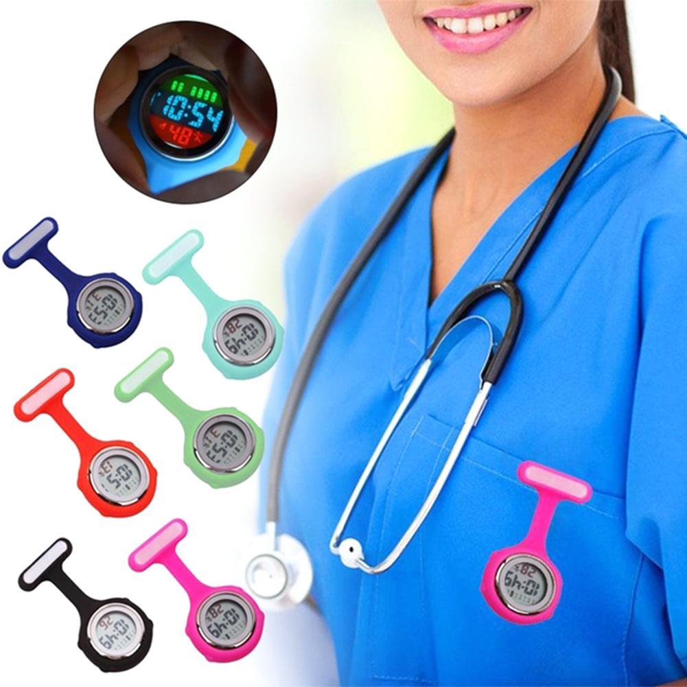 Pockets Watch Fashion Women's Digital Display Dial Fob Nurse Brooch Pin Hang  Electric Watch New Fob Watches reloj de bolsillo D