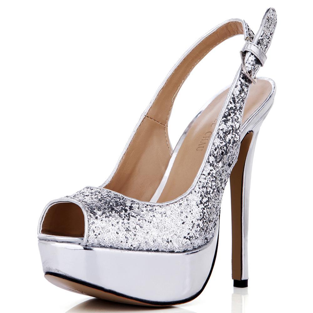 Zapatos de tacón de aguja con purpurina para Mujer, calzado con puntera...