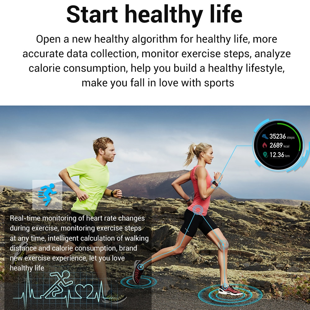 Новинка 2020, умные часы L6, IP68, водонепроницаемые, спортивные, для мужчин и женщин, Bluetooth, умные часы, фитнес-трекер, пульсометр для Android IOS-2