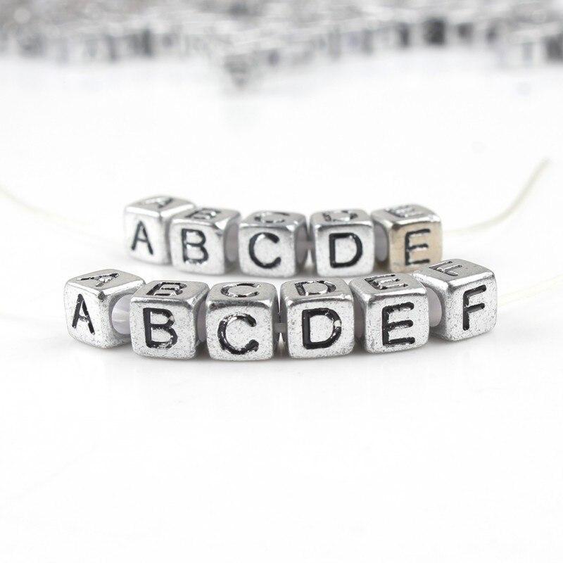 100 Uds cuadrado mezclado inglés Cuentas de letras 6*6mm alfabeto gris número acrílico cuentas para fabricación de joyería DIY pulsera Accesorios