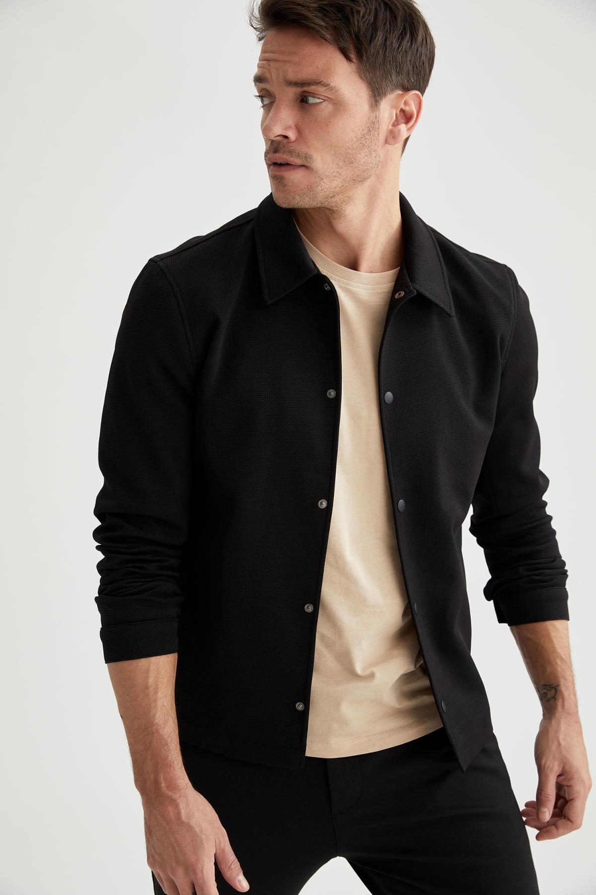 DeFacto Spring Man Coats & Jackets Regular Fit Basic Shirt Jacket Outerwear Warm Fashion New Season-
