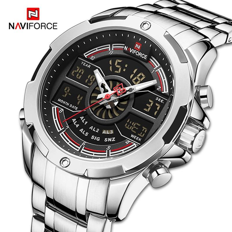 NAVIFORCE Herren Uhren Militär Sport Analog Chronograph Digital Quarz Armbanduhr Für Männer Luminous Wasserdichte Luxus Uhr Männlich