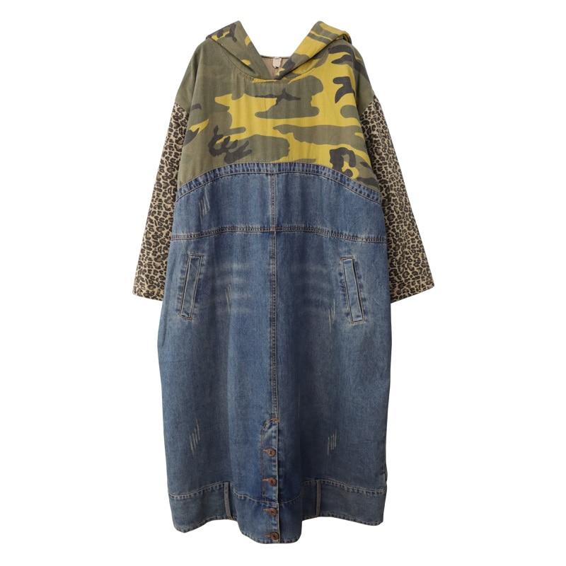 فستان من قماش الدنيم المموه بمقاسات كبيرة ، فستان بقلنسوة بقلنسوة ، فستان طويل فضفاض للنساء ، فساتين فضفاضة بأكمام طويلة