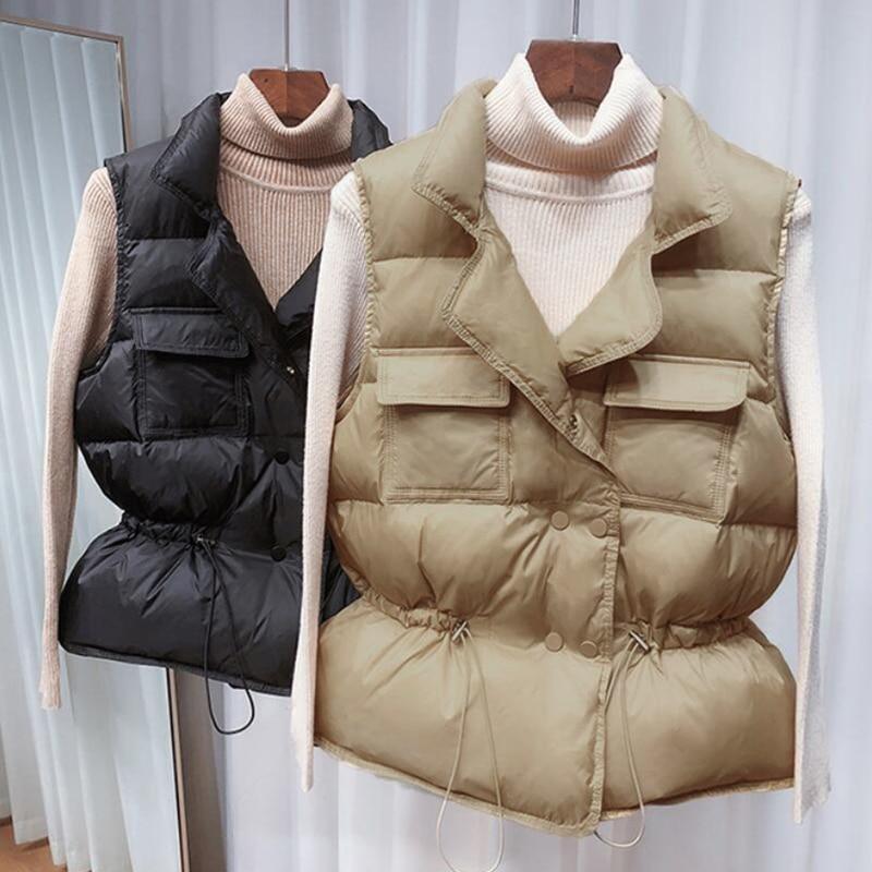 Winter Down Vest Women Short Vest Windbreaker Lightweight Body Warmer Waistcoat Female White Gilets