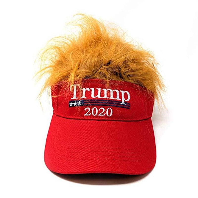 Gorra de béisbol lavada bordada, gorra vacía-peluca Unisex informal Streewear Donald Trump 2020, gorra de béisbol de la campaña de las elecciones estadounidenses