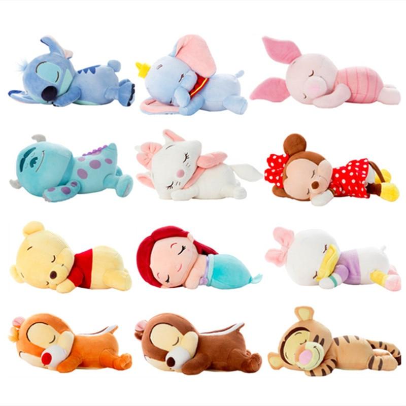 Lindo Punto de dormir Mickey Minnie sirenita Rapunzel Marie Cat Mike Wazowski oso juguetes de peluche suave animales de peluche